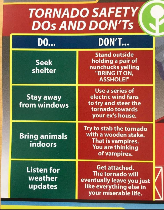 Helpful tips for tornado season - meme