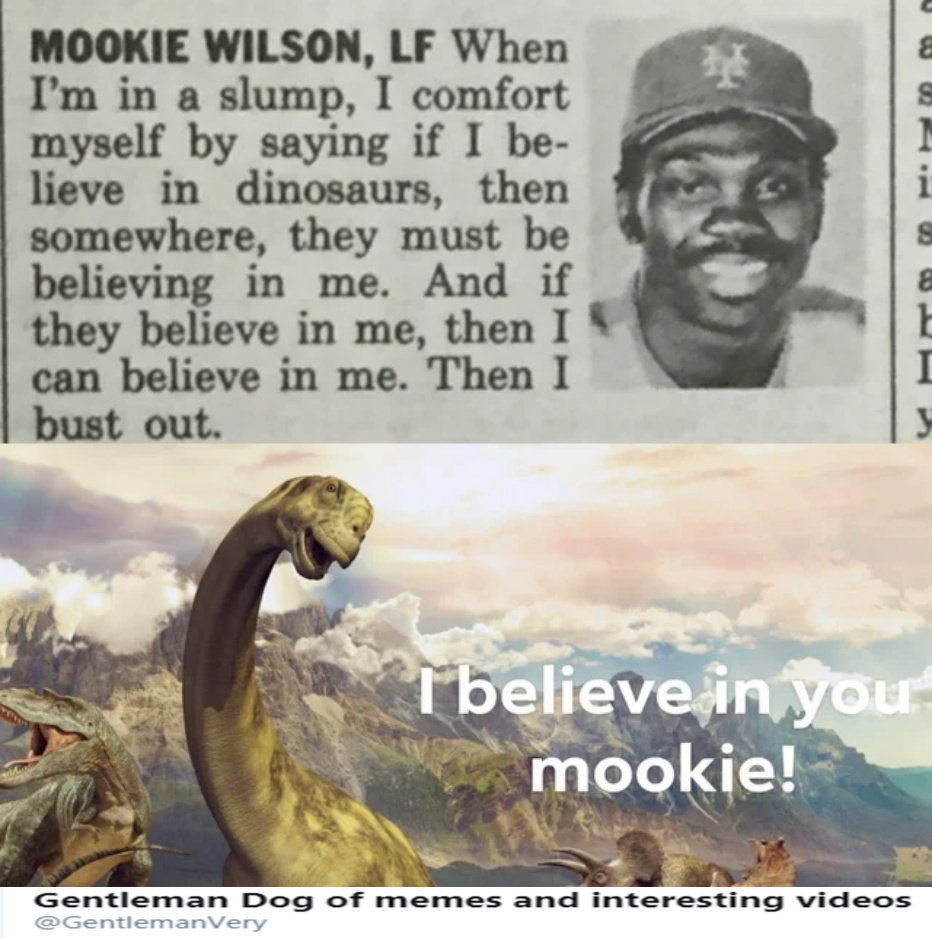 Dinosaurs believe in mookie wilson and he believes in them, what a beautiful friendship. - meme