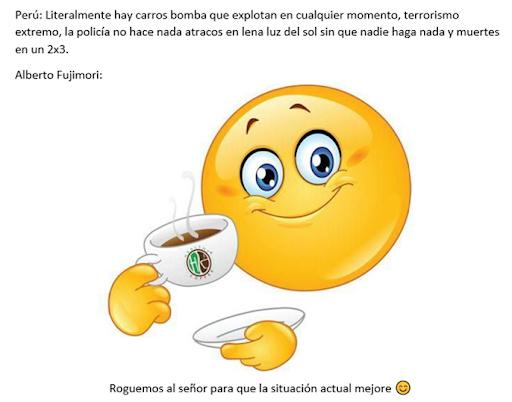 Contexto: Hubo un tiempo en el Perú en donde había mucha corrupción, las autoridades no hacían nada, al igual que el presidente Alberto Fujimori. - meme