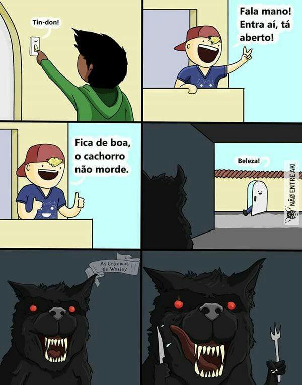 O cão só morde quem não passa os link - meme