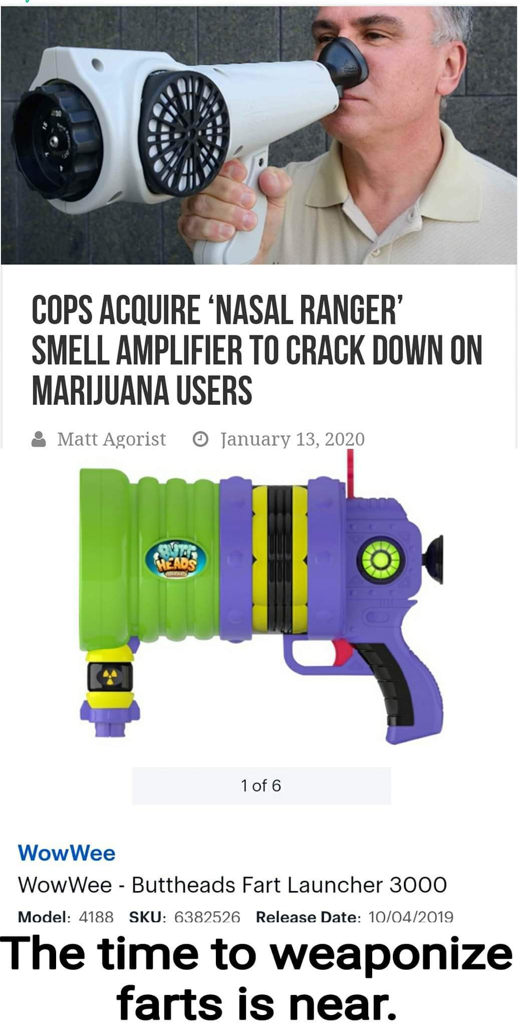 The smell device is probably fake. Its still a funny idea - meme
