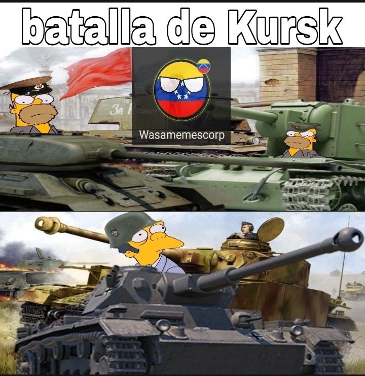 No está 100% apegado a la verdadera batalla ya que de igual forma la URSS perdió más tanques pero se entiende - meme