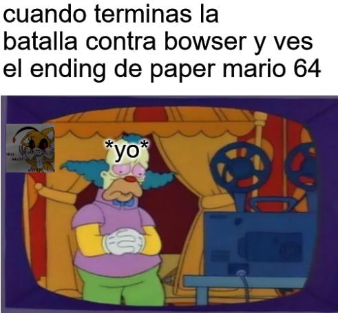 recien termine paper mario 64 - meme