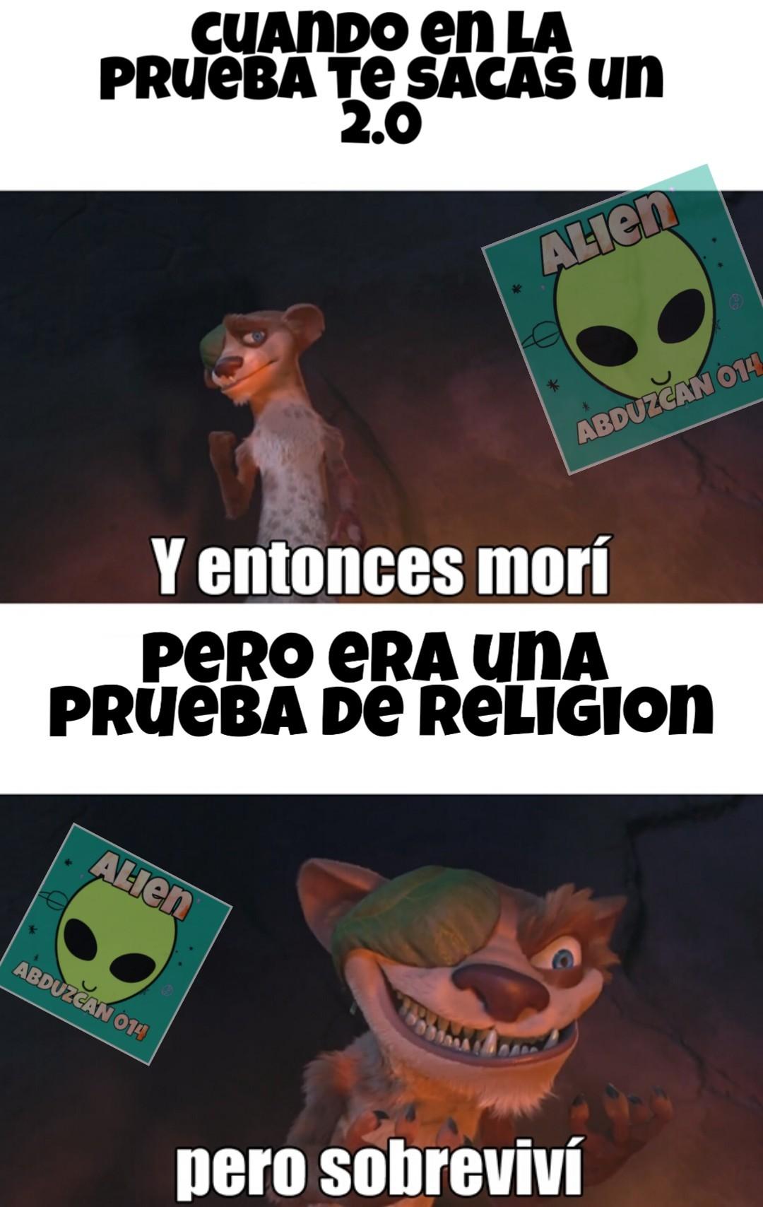 Viva las pruebas de religión que no valen nada - meme
