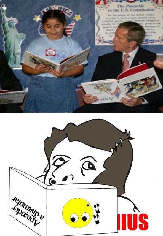 Bush leyendo al revés - meme