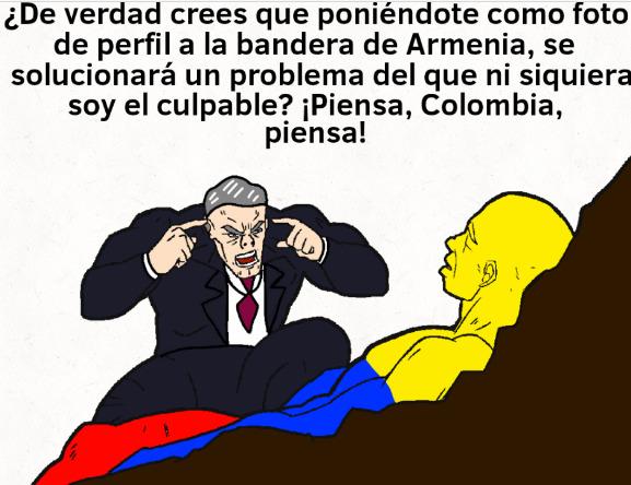 Pero no. Los colombianos idiotas insisten en decir que todo es culpa del presidente, aún cuando todo lo inició el viejo huevón ese, el Carrasquilla. Y por protestar a la subida de impuestos, terminaron malinterpretado todo y se armó el mierdero - meme