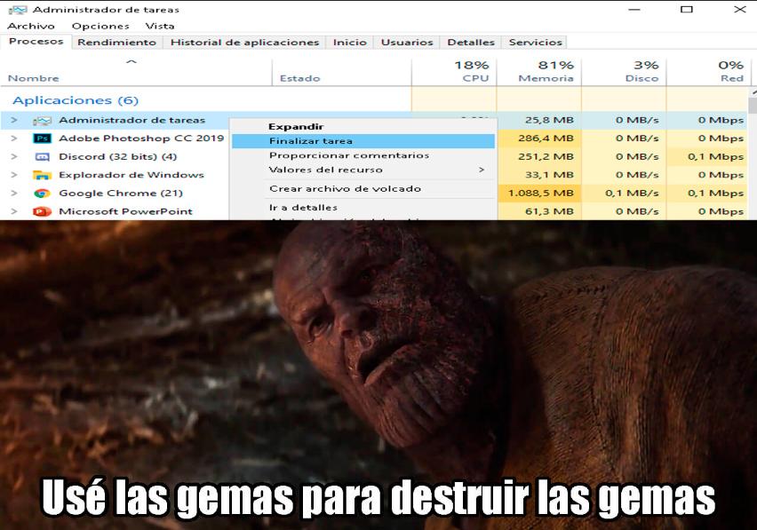 usar el admin de tareas para cerrar el admin de tareas - meme