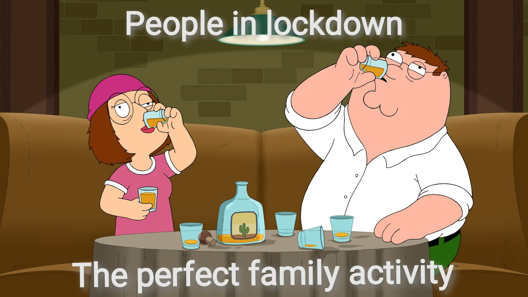 Drinking in lockdown - meme