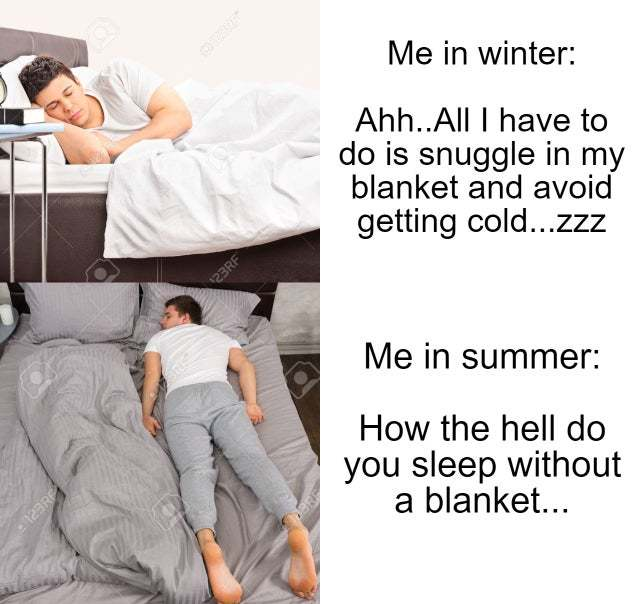 Winter is better for sleep - meme