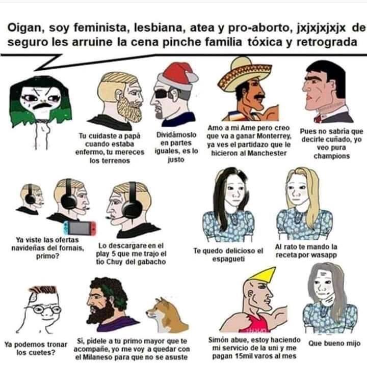 Triste historia de una feminista en la cena navideña - meme