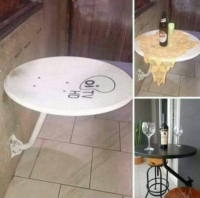 Antena virou uma mesa. - meme