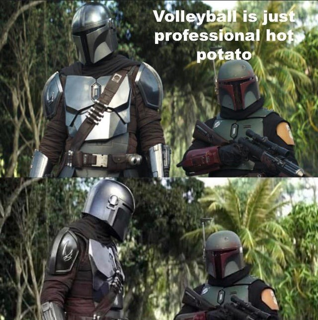 Volleyball is just professional hot potato - meme