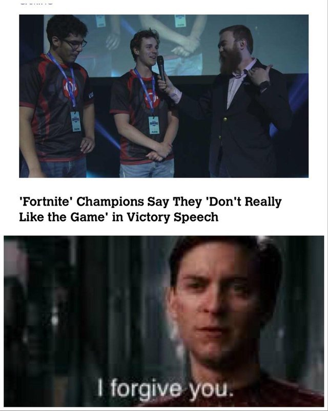 Fortnite Champions say they don't really like the game in victory speech - meme