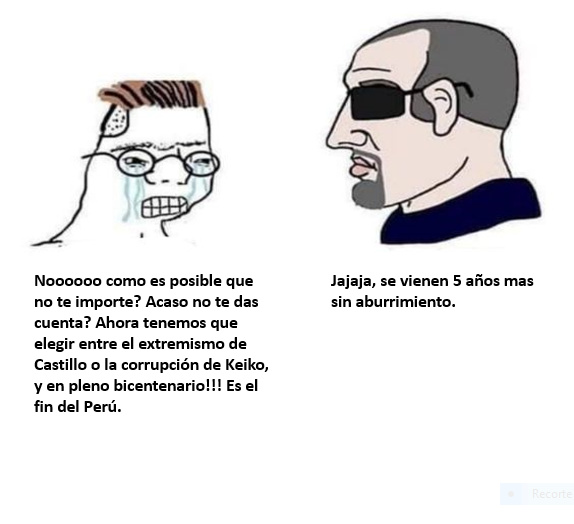 The Virgin Generación del Bicentenario vs The Chad Espectador. - meme