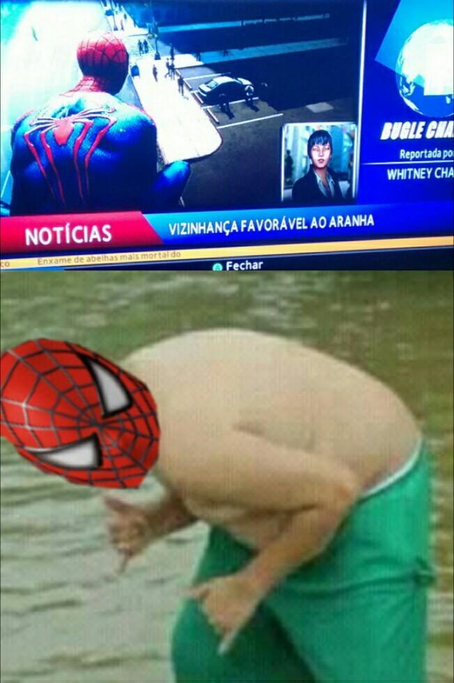 Eu estava jogando spider man e não resisti - meme