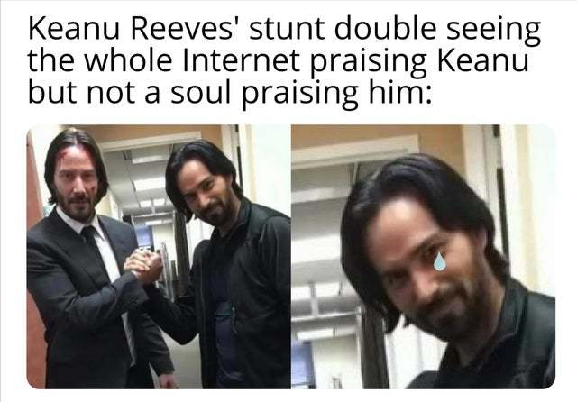 Keanu Reeves and his stunt double - meme