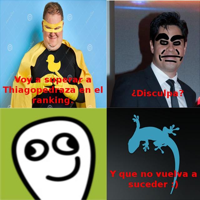 Explicación: En el meme se puede observar que, novagecko, baneó al gordo que trató de superar a Thiago.