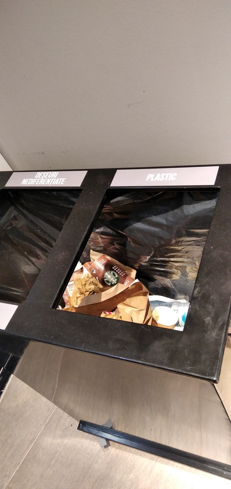 This trash can was supposed to separate plastic from paper. Smh- - meme