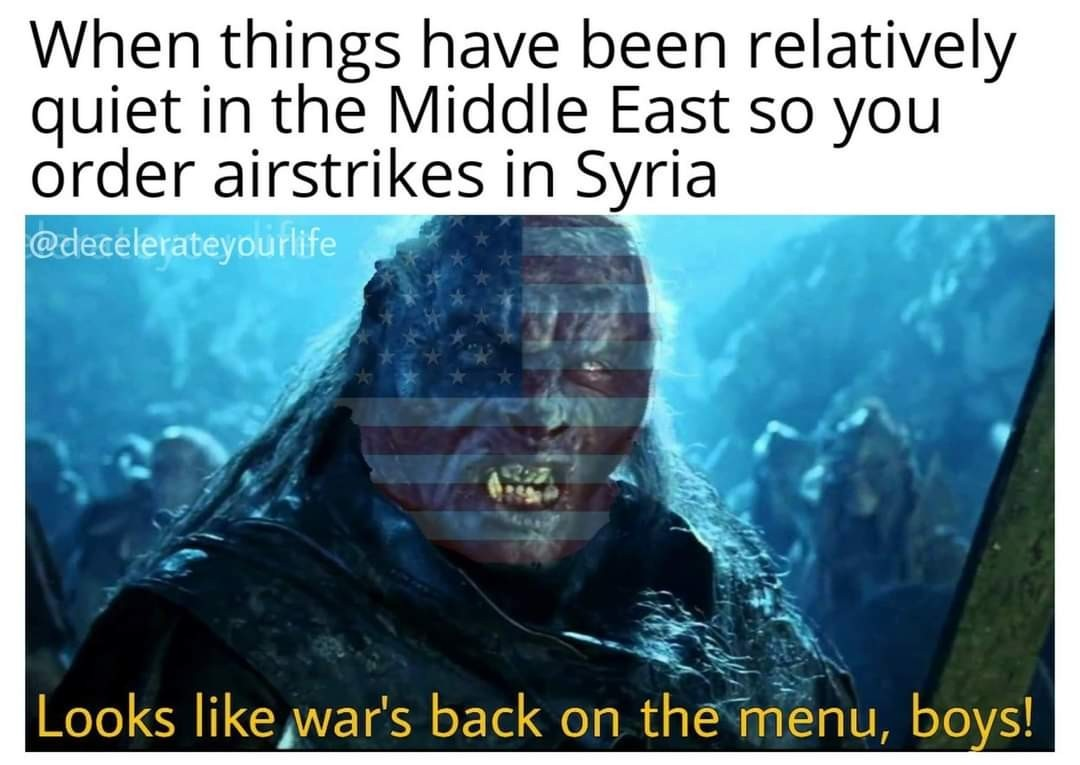 Middle East is back on the menu - meme