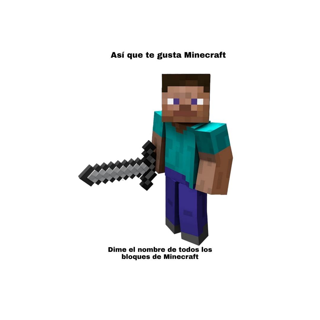 Díganme pa los que les gusta el Minecraft - meme