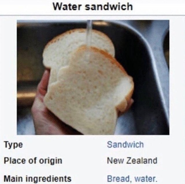 Water sandwich: an original recipe from New Zealand - meme