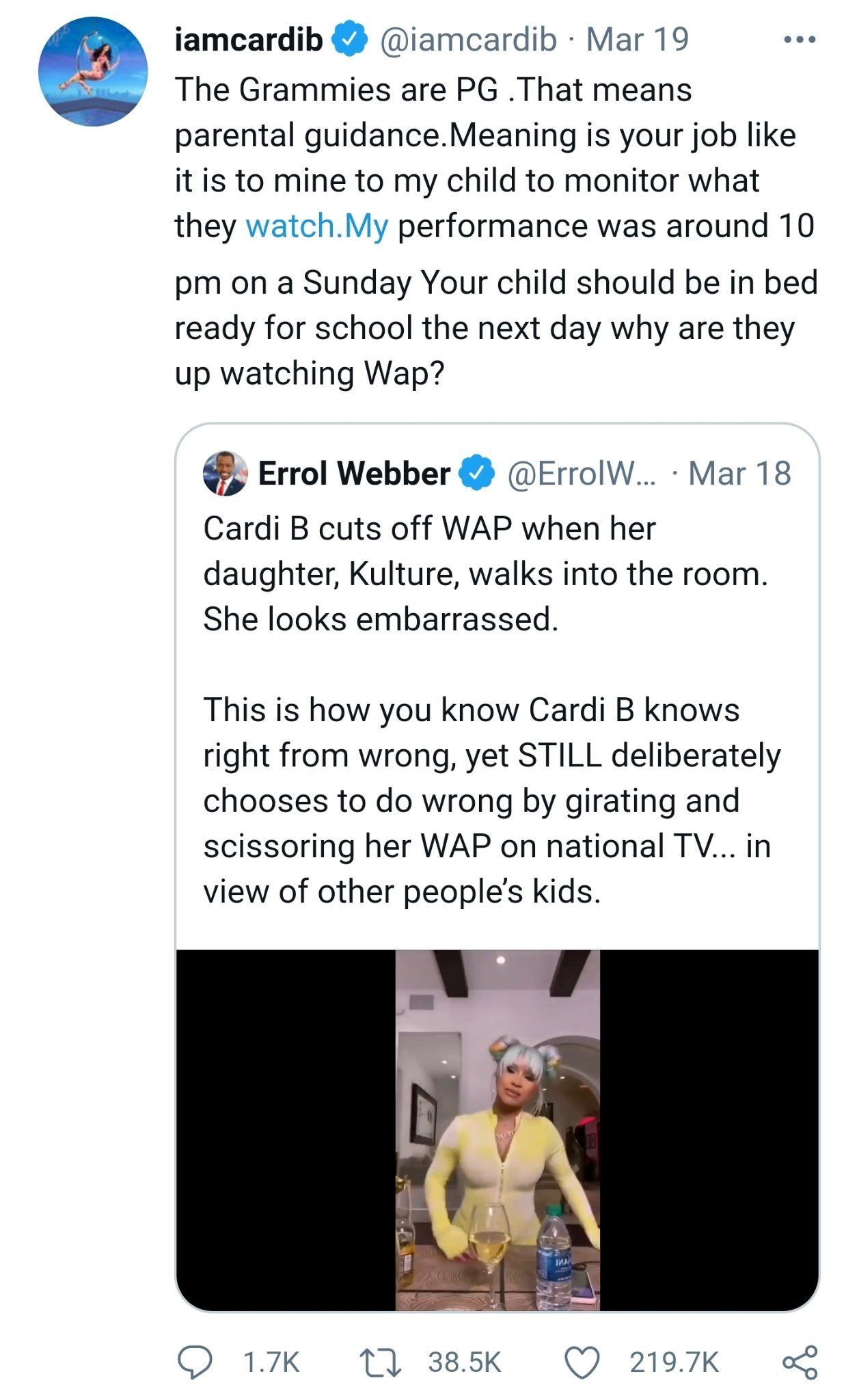 Now I'm no fan of Cardi, but she does have a great parenting fact right there. Monitor your kids. Don't let them watch adult shit until after 18. - meme