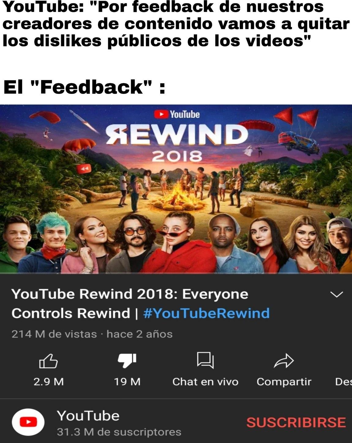 """A Youtube le arde tanto tener el video con más dislikes de la historia de la plataforma que no quiere nadie se """"entere"""" ahora jakajsjaj - meme"""