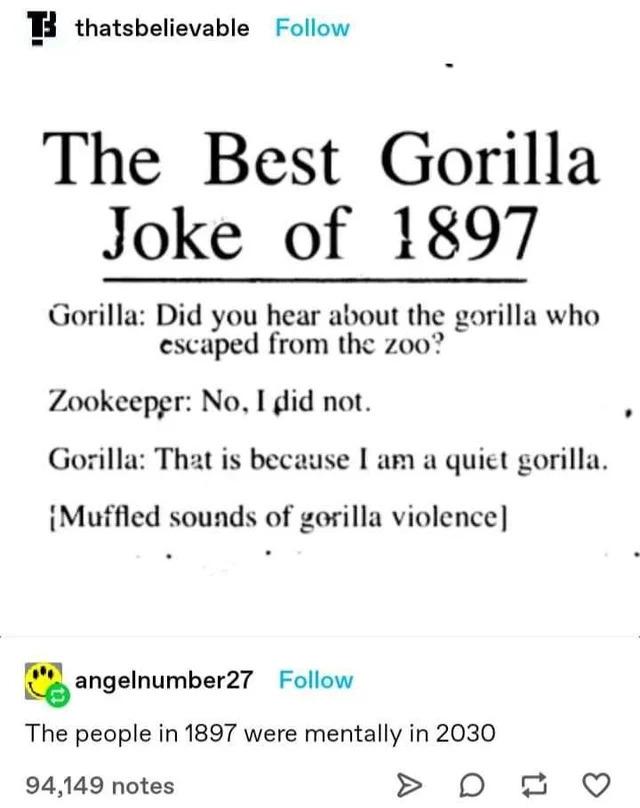 Gorilla joke of 1897 - meme