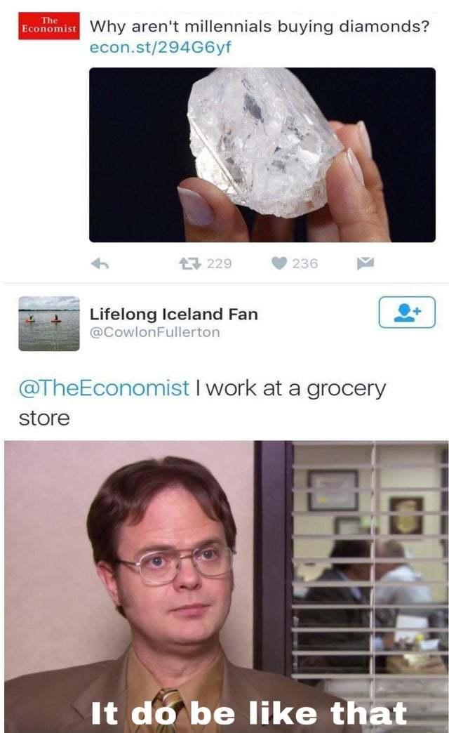 Why aren't millennials buying diamonds? - meme