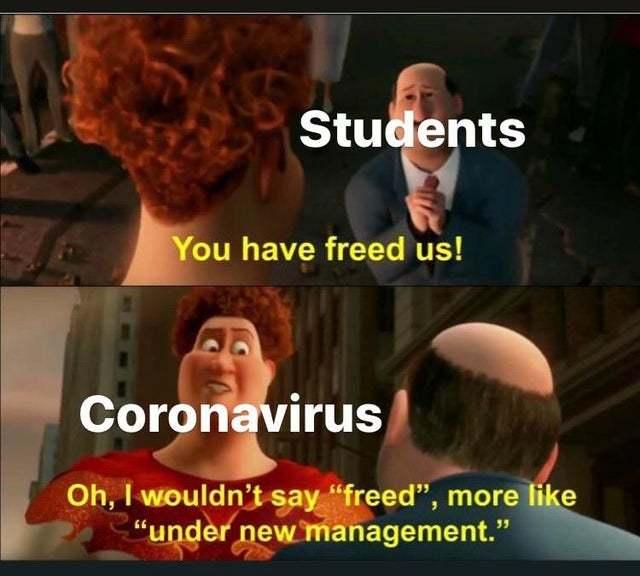 Coronavirus has freed the students - meme