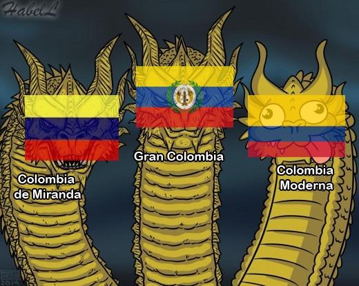 PD: La Colombia/Nueva Granada moderna no tiene nada que ver con las demás XD - meme