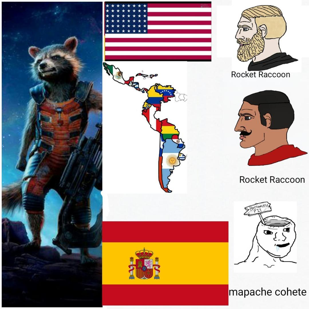 contexto: en los 70s cuando rocket fue creado en los comics los españoles lo llamaron mapache cohete - meme