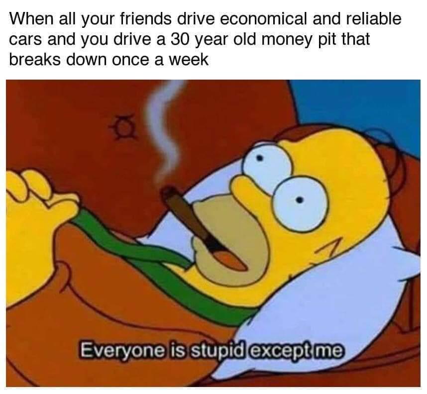 When you daily drive a 30 year old Mitsubishi - meme