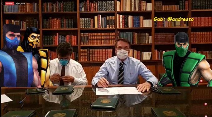 Bolsonaro faz live com a comunidade ninja do Brasil. - meme