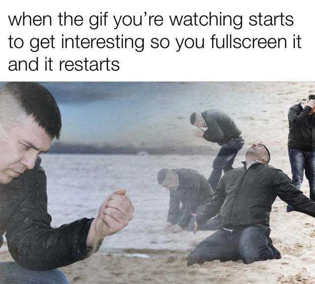 When the gif you are watching starts to get insteresting so you fullscreen it and it restarts - meme