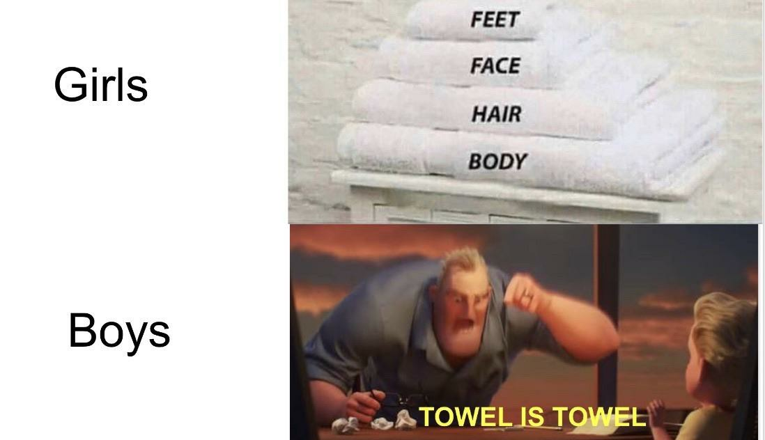 Who needs so many towels? - meme