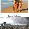 Boys vs Girls at the Beach