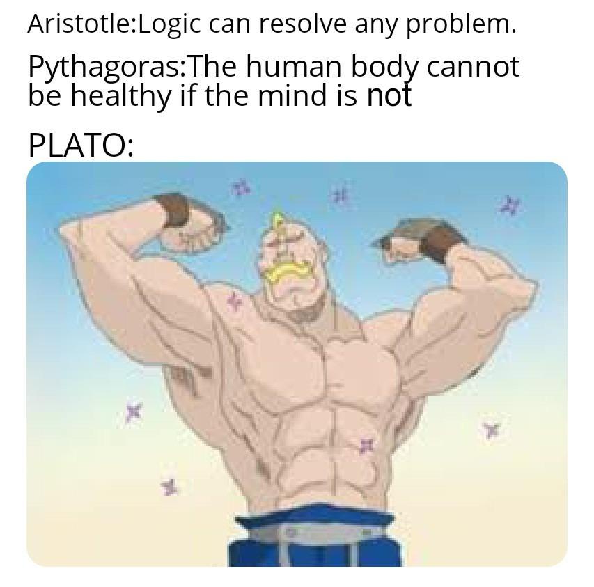 Plato means wide shouldered - meme