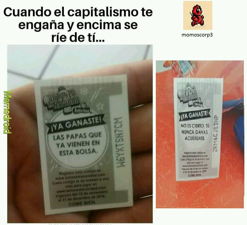 Maldito capitalismo >:v - meme