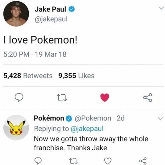 Jake Paul loves Pokemon - meme