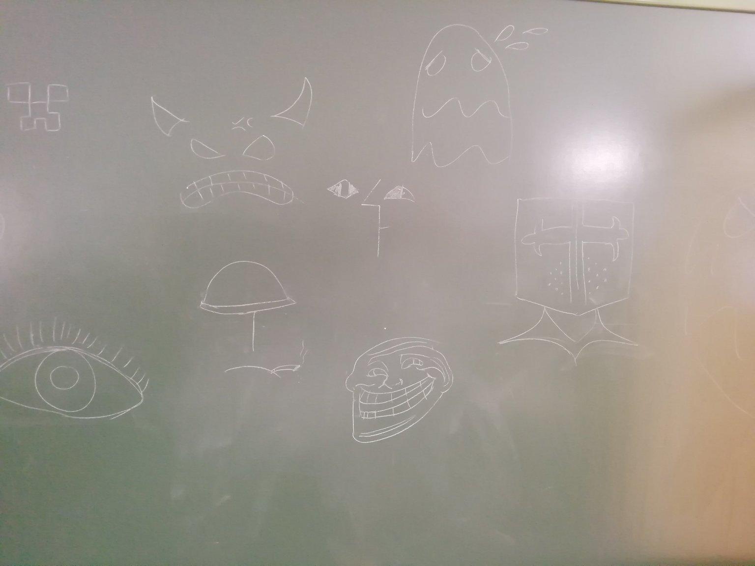 Dibujo en la pizarra que hize en clase - meme