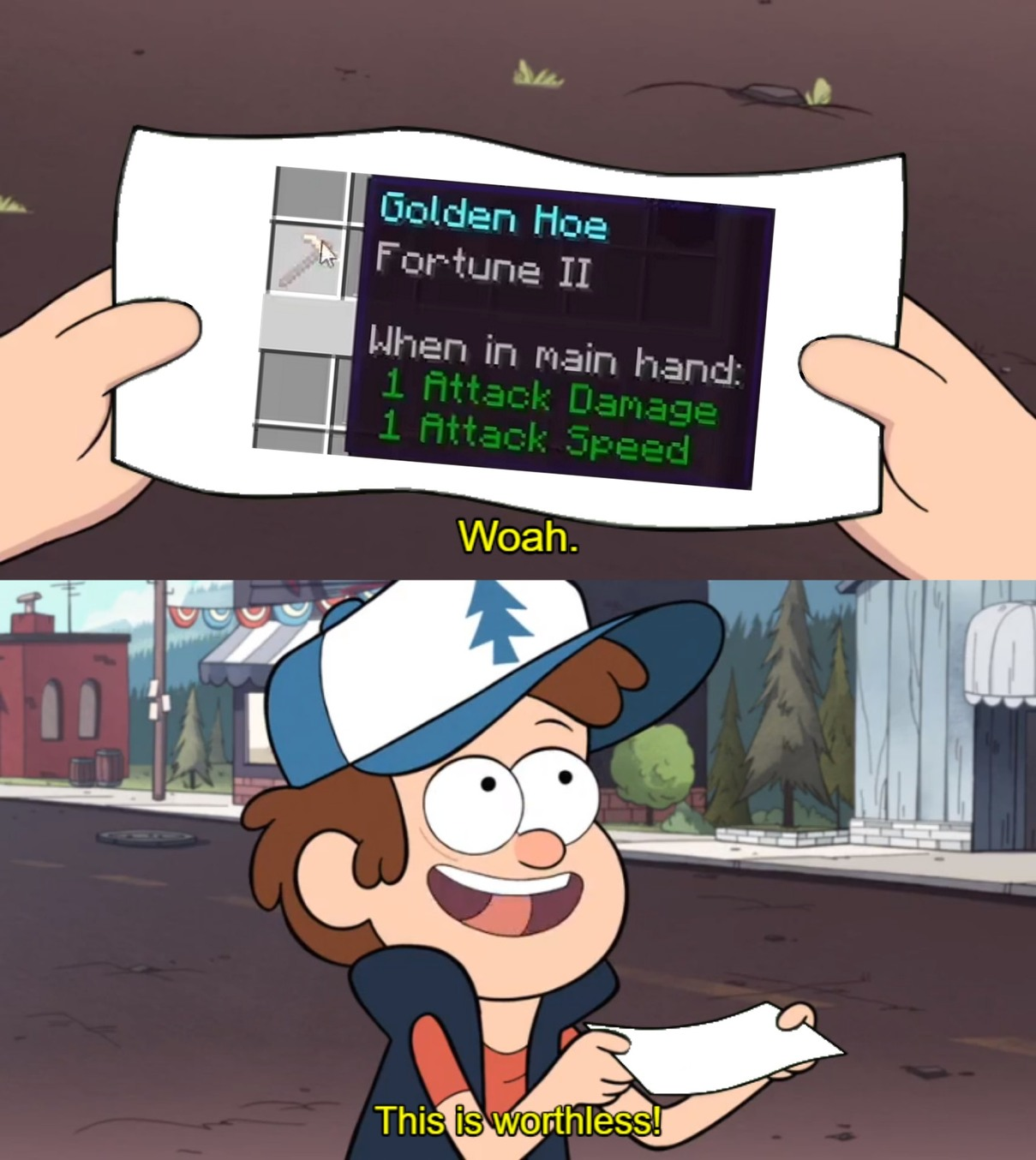 Woah this is worthless! Golden Fortune Hoe - meme