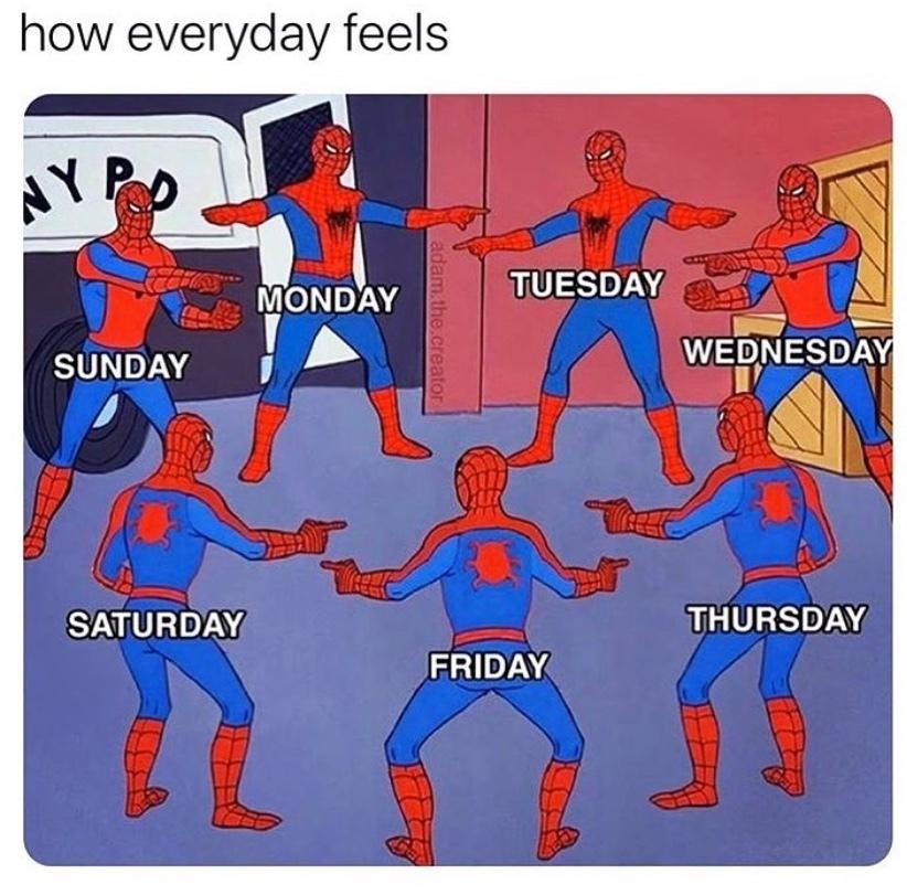 como são os dias da semana: segunda, terça, quarta.... - meme