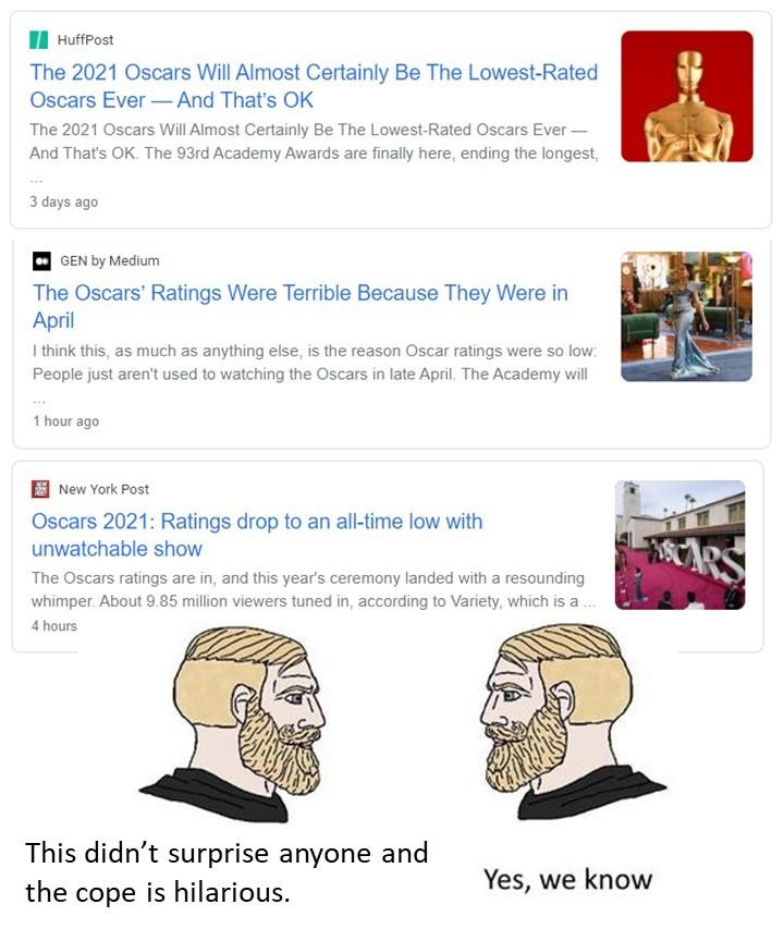 Oscars vs Chads - meme