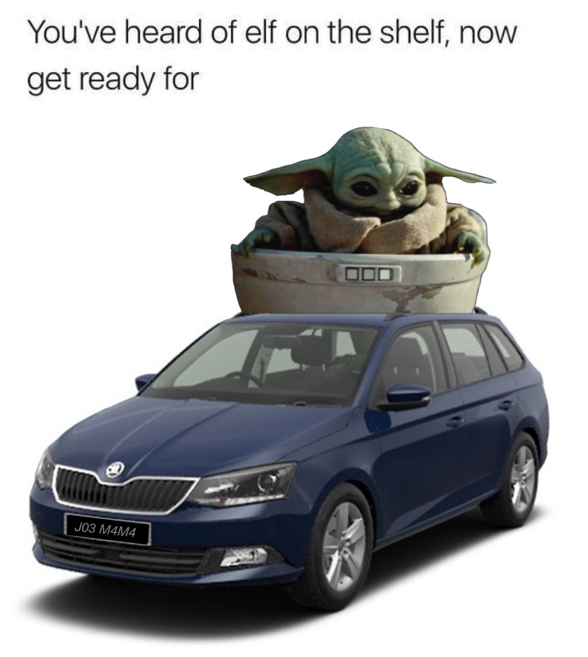 Baby Yoda on a Baby Skoda - meme