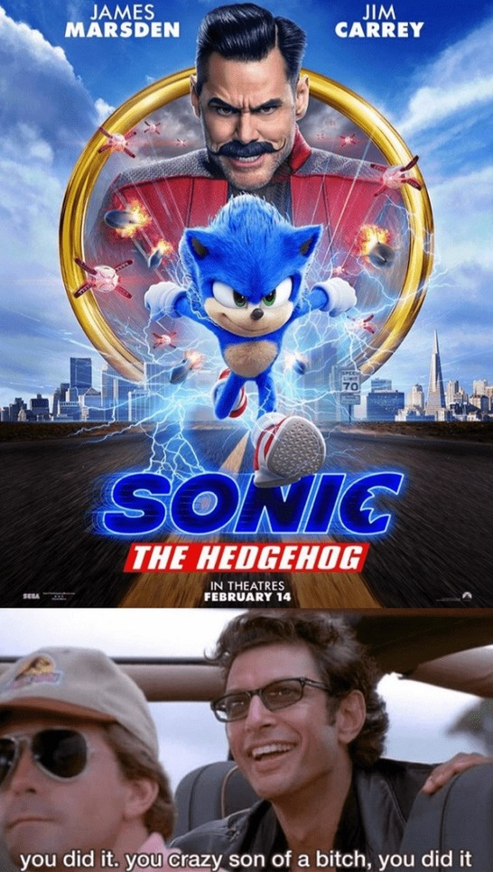 respect to the workers who worked really hard and made Sonic looks better - meme