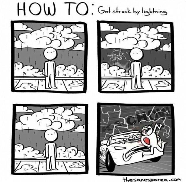 struck by lightning - meme