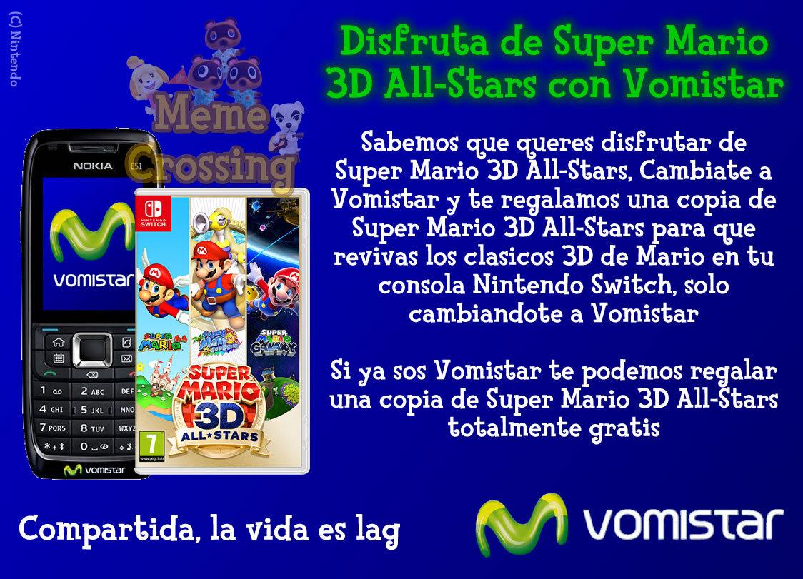 Lo se, otro meme de Vomistar, pero lo mas gracioso es el Super Mario 3D All-Stars gratis que Vomistar te ofrece si te cambias a Vomistar o si ya sos Vomistar, acaso sera un nuevo beneficio exclusivo de Vomistar?