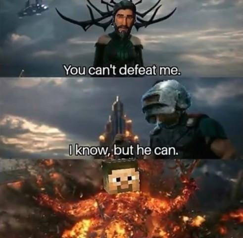 Minecraft Hunger Games>PUBG>Fortnut - meme