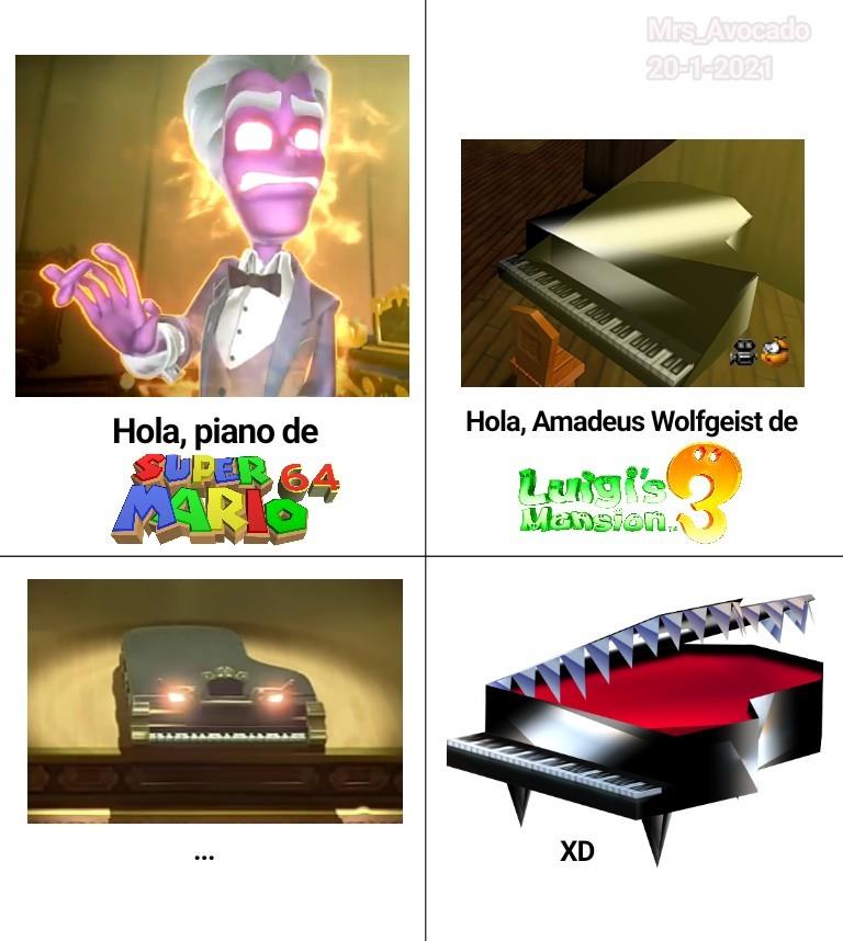 Contexto para los que no jugaron LM3 (OJO SPOILER): Amadeus Wolfgeist es uno de los jefes del juego y cuando se enoja se convierte en una piano poseída para intentar derrotar a Luigi - meme